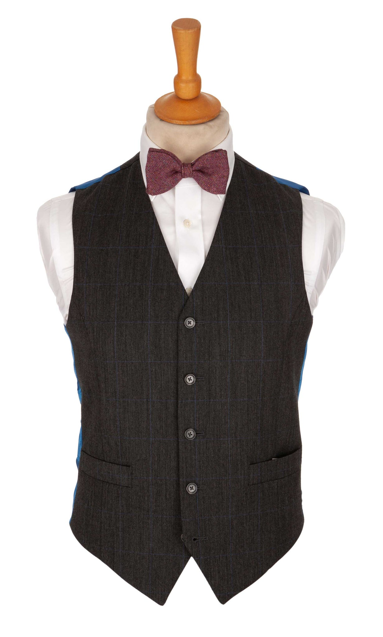 Regent Norton Waistcoat – Charcoal Grey Wool with Blue Overcheck - Regent Tailoring