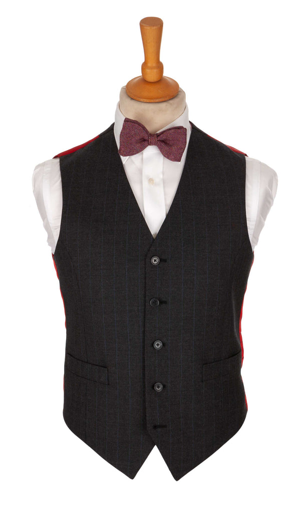 Regent Triumph Waistcoat – Charcoal Grey Wool with Blue Pinstripe - Regent Tailoring