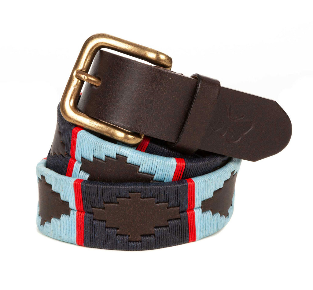Regent Sky Blue and Navy Argentinean Polo Belt - Regent Tailoring