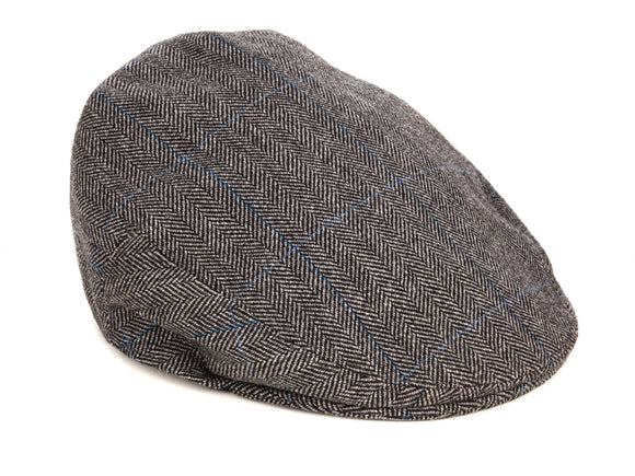 Regent Flat Cap – Herrinbone Tweed with Blue Overcheck - Regent Tailoring
