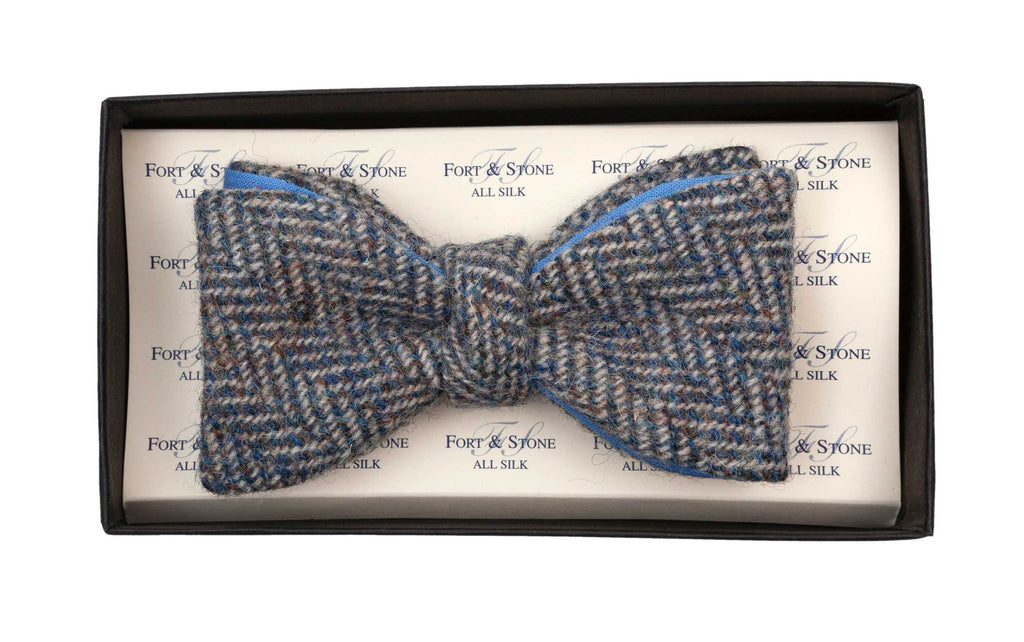 Regent - Tweed Bow Tie - Grey Large Herringbone w/ Blue Backing - Regent Tailoring