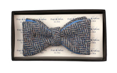 Regent - Tweed Bow Tie - Grey Large Herringbone w/ Blue Backing