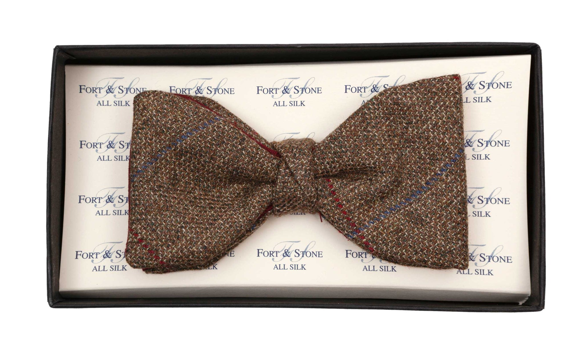 Regent Bow Tie - Tweed with Blue & Red Overcheck - Regent Tailoring