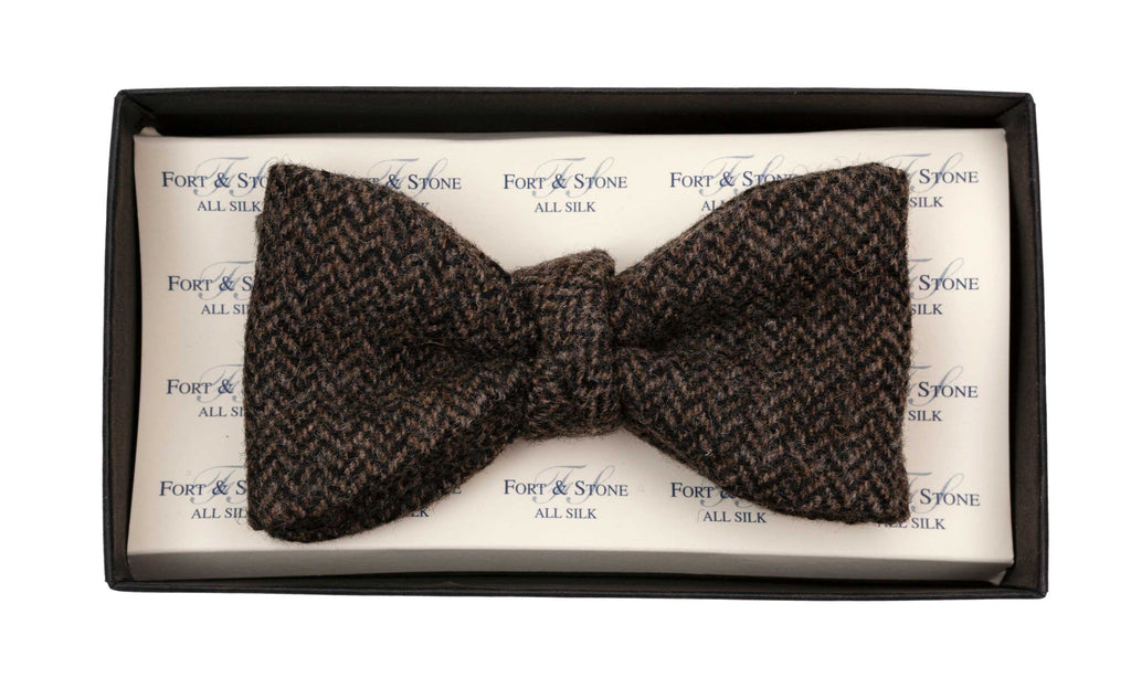 Regent - Tweed Fixed Bow Tie - Dark Charcoal Herringbone - Regent Tailoring