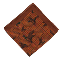 Regent Wool & Silk Blend Pocket Square – Ginger Biscuit Colour with Ducks