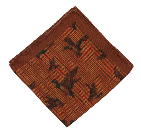 Regent Wool & Silk Blend Pocket Square – Ginger Biscuit Colour with Ducks - Regent Tailoring