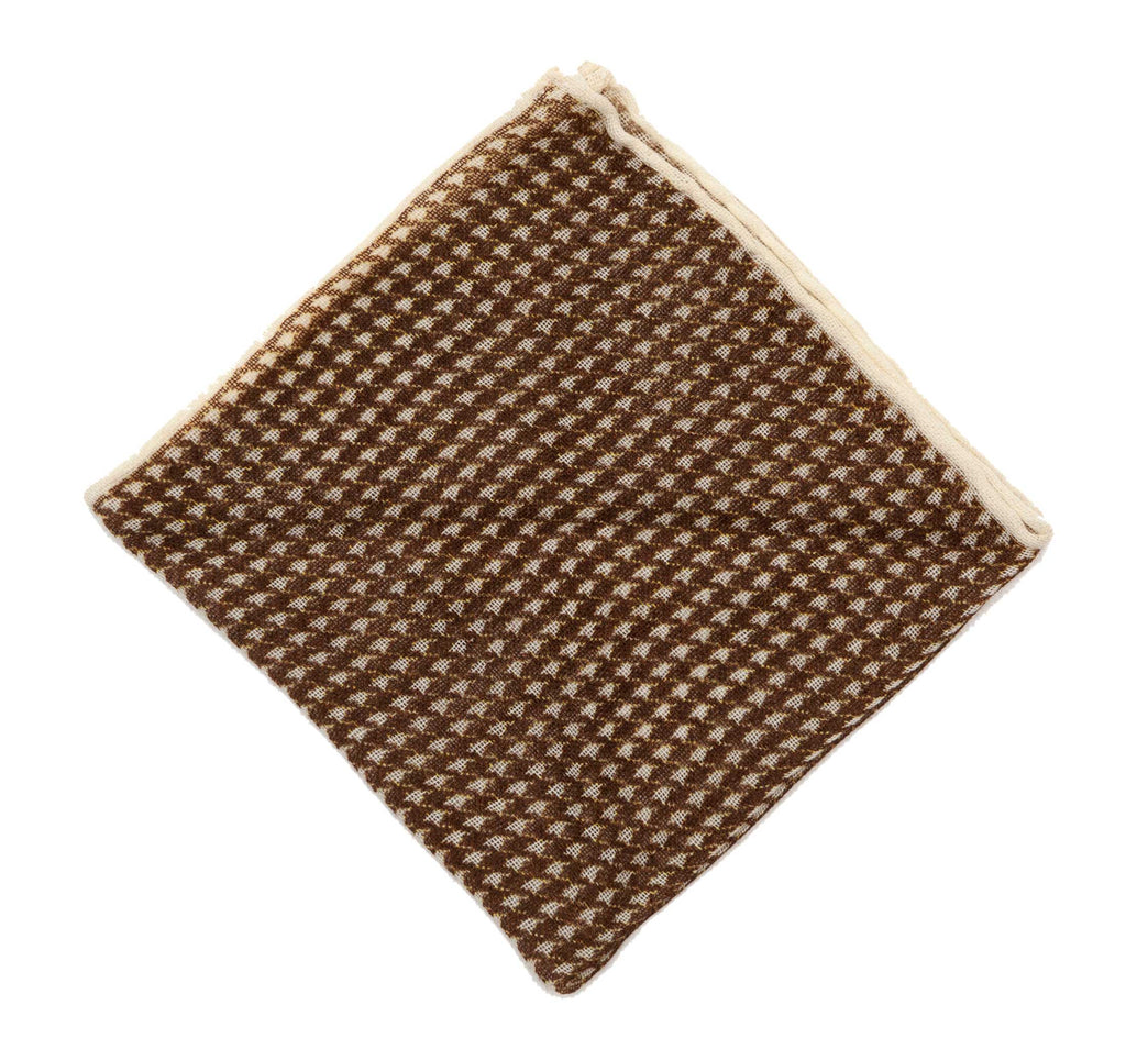 Regent Brown Dogtooth Wool Pocket Square - Regent Tailoring
