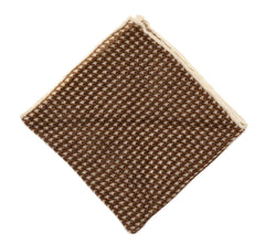 Regent Brown Dogtooth Wool Pocket Square