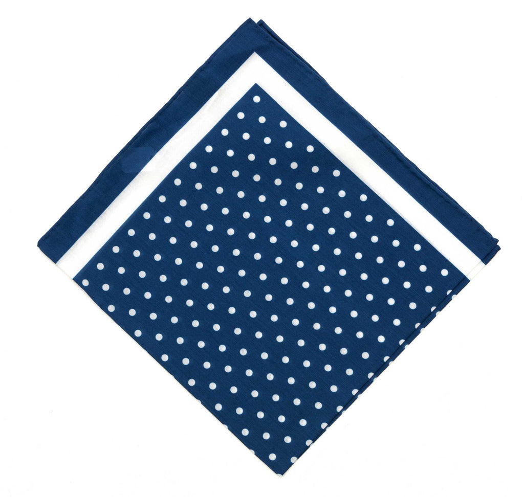 Regent Silk/Cotton Blend Large Pocket Square – Blue with White Spot - Regent Tailoring