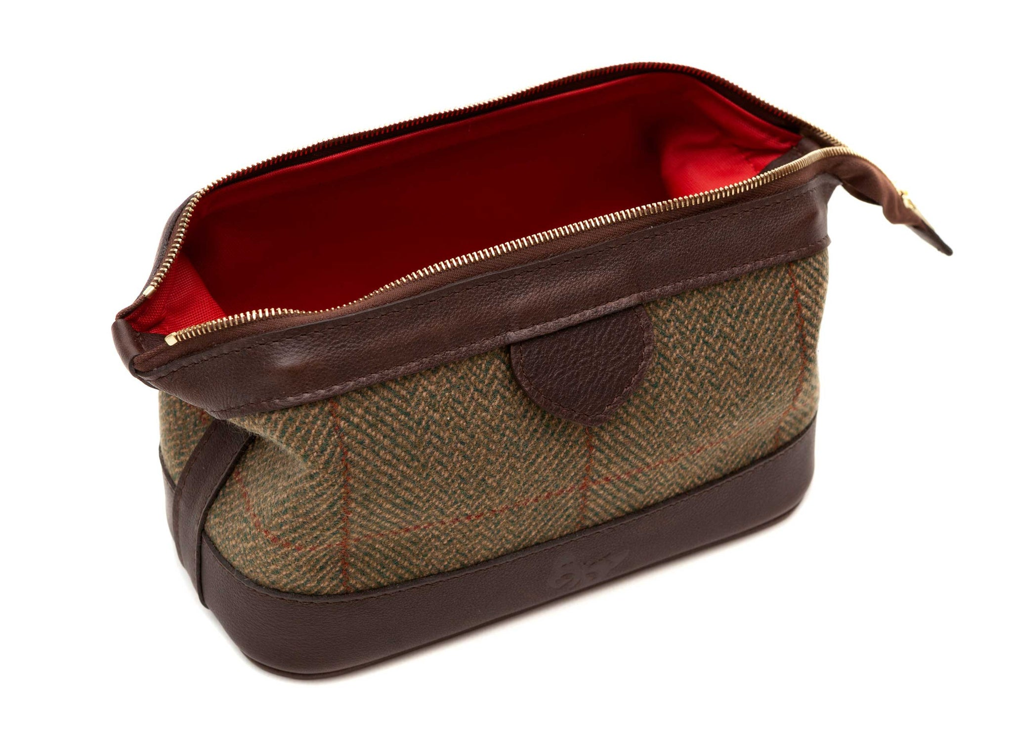 Regent - Tweed and Leather Wash Bag - Regent Tailoring