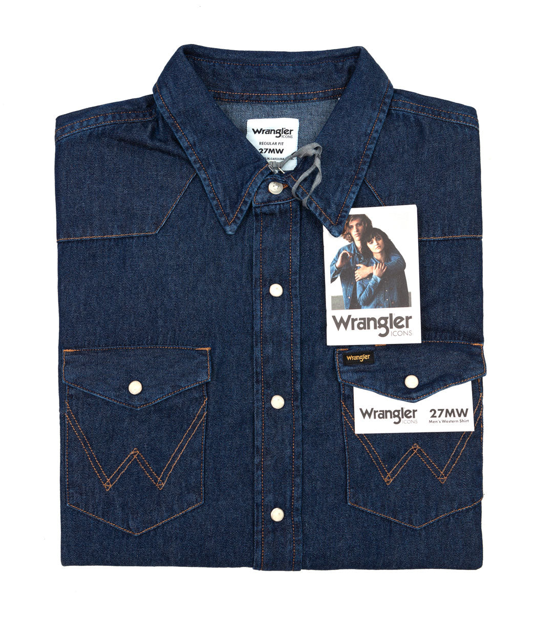 Classic iconic American-style denim shirt with pearl popper buttons and 'W' pocket stitching from Wrangler, made from 100% indigo cotton.