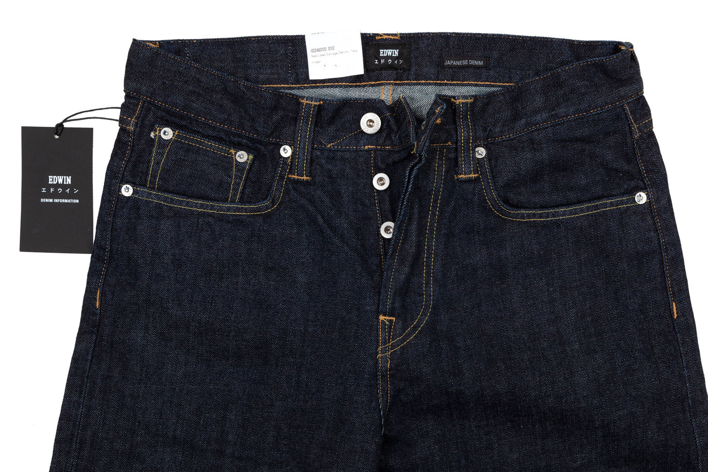 Loose tapered mid-rise selvege denim jeans in dark rinsed blue by Japanese master denim craftsmen Edwin.