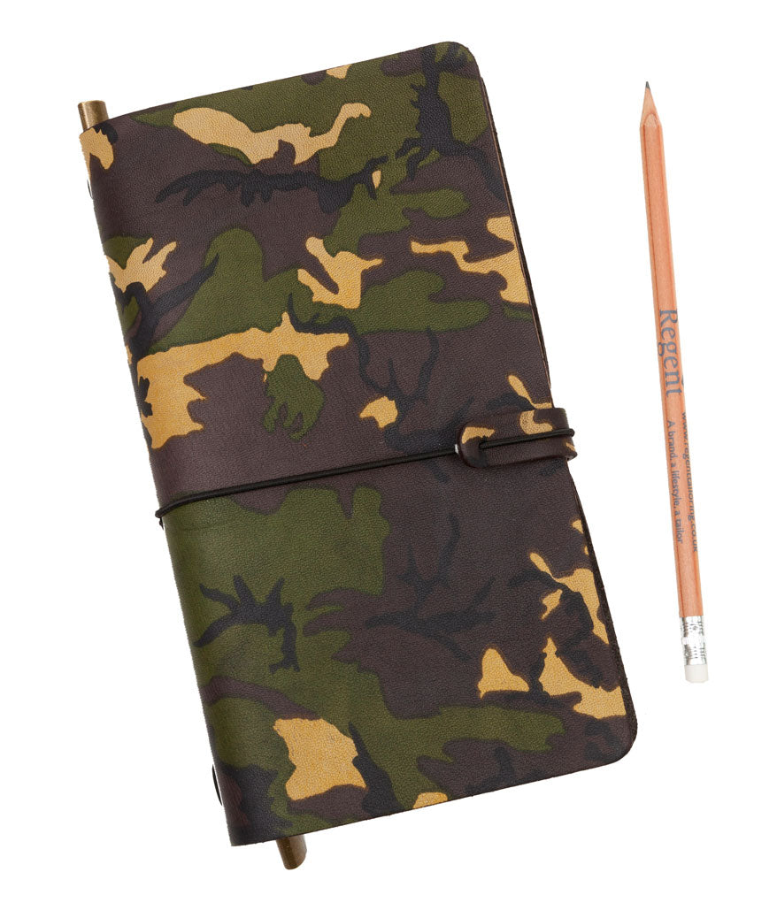 Classic soft luxury leather notebook in camouflage printed leather by Regent with both blank and lined paper
