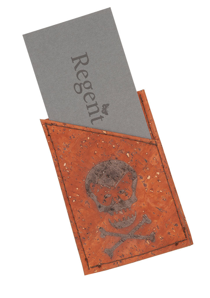 Cork-composition card holder made and designed exclusively by Regent.