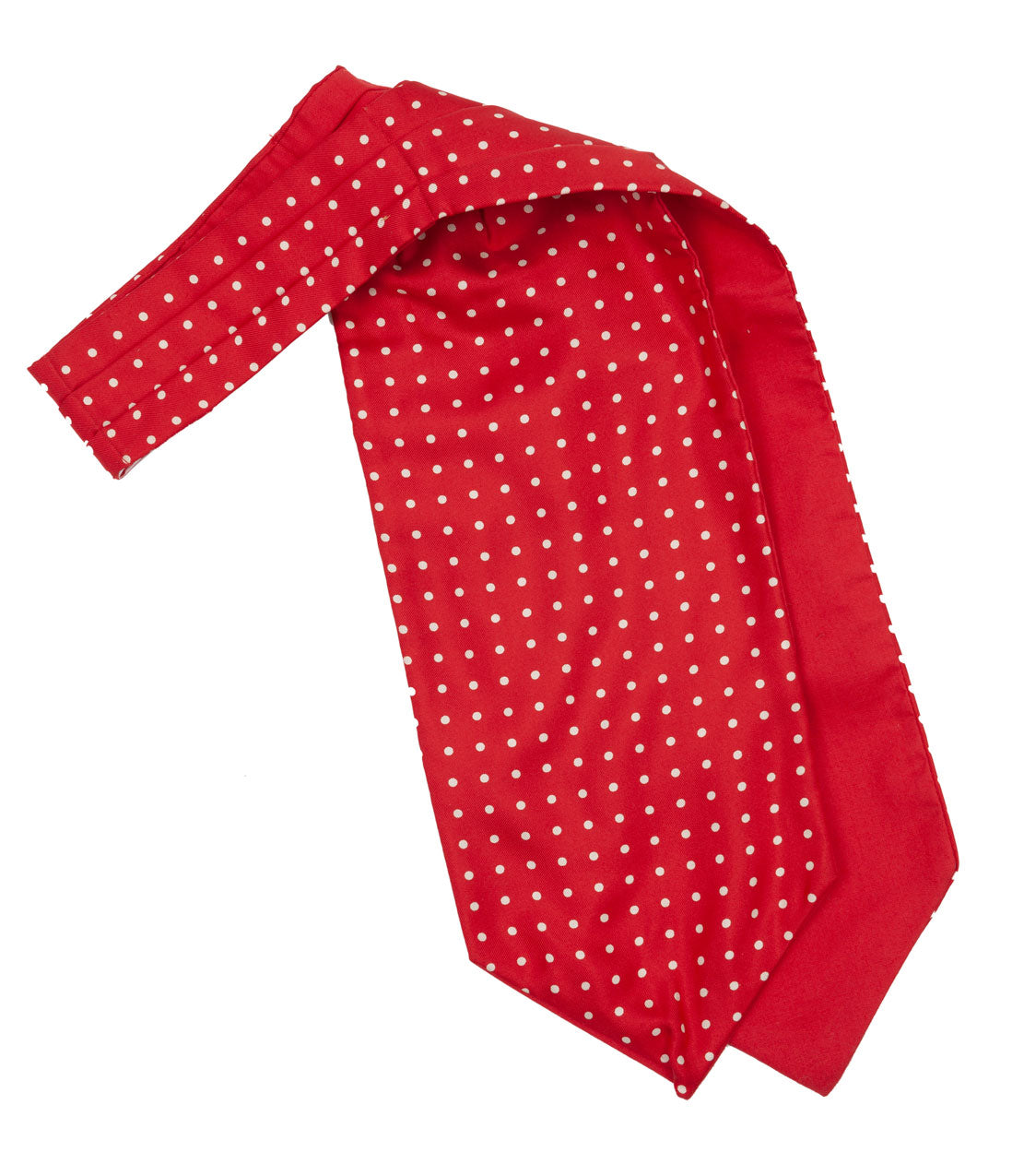 Luxury silk cravat made in England and designed exclusively for Regent, featuring cotton backing to help it 'sit up' well on the shirt and at the neck. A smart, sharp red is softened by cool white spots.