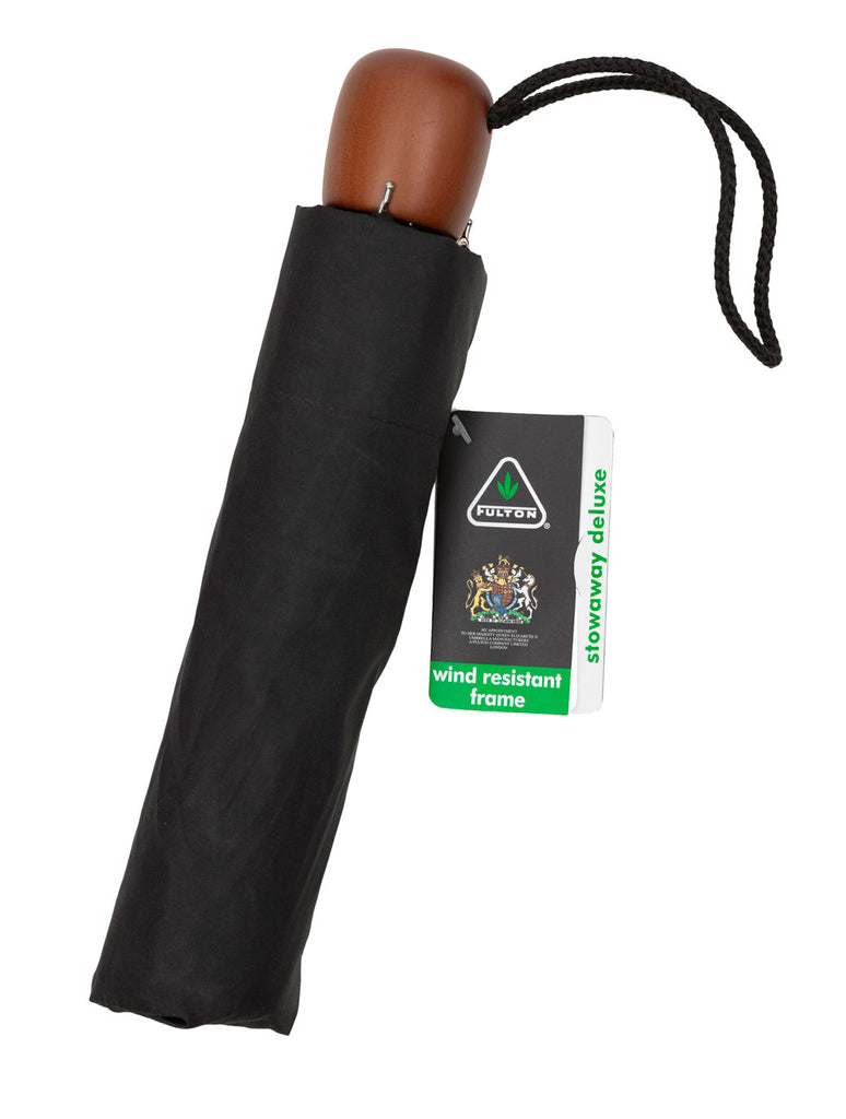 All-round reliable compact telescopic umbrella from Fulton in black with a wooden handle and wind resistant frame.
