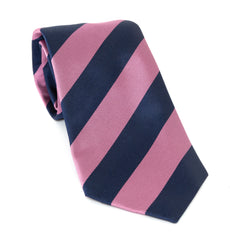 Regent Luxury Silk Tie - Pink & Navy Stripe