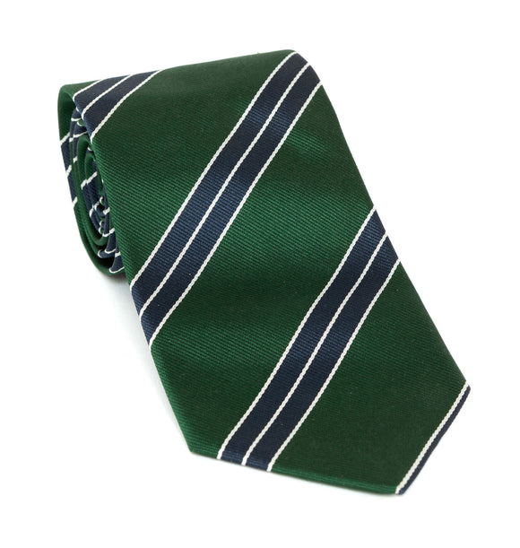 Regent Luxury Silk Tie - Racing Green with Navy White-Edge Stripe - Regent Tailoring