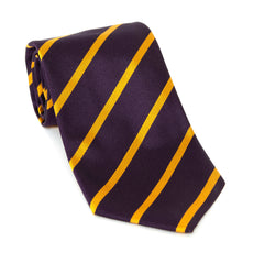 Regent Luxury Silk Tie - Purple with Gold Stripes