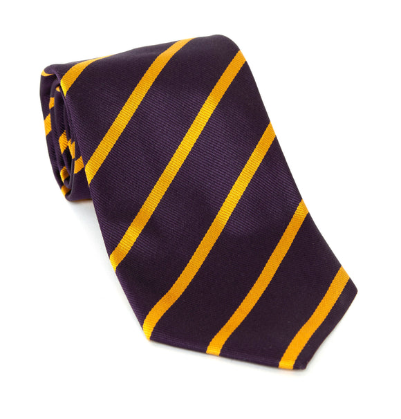 Regent Luxury Silk Tie - Purple with Gold Stripes - Regent Tailoring