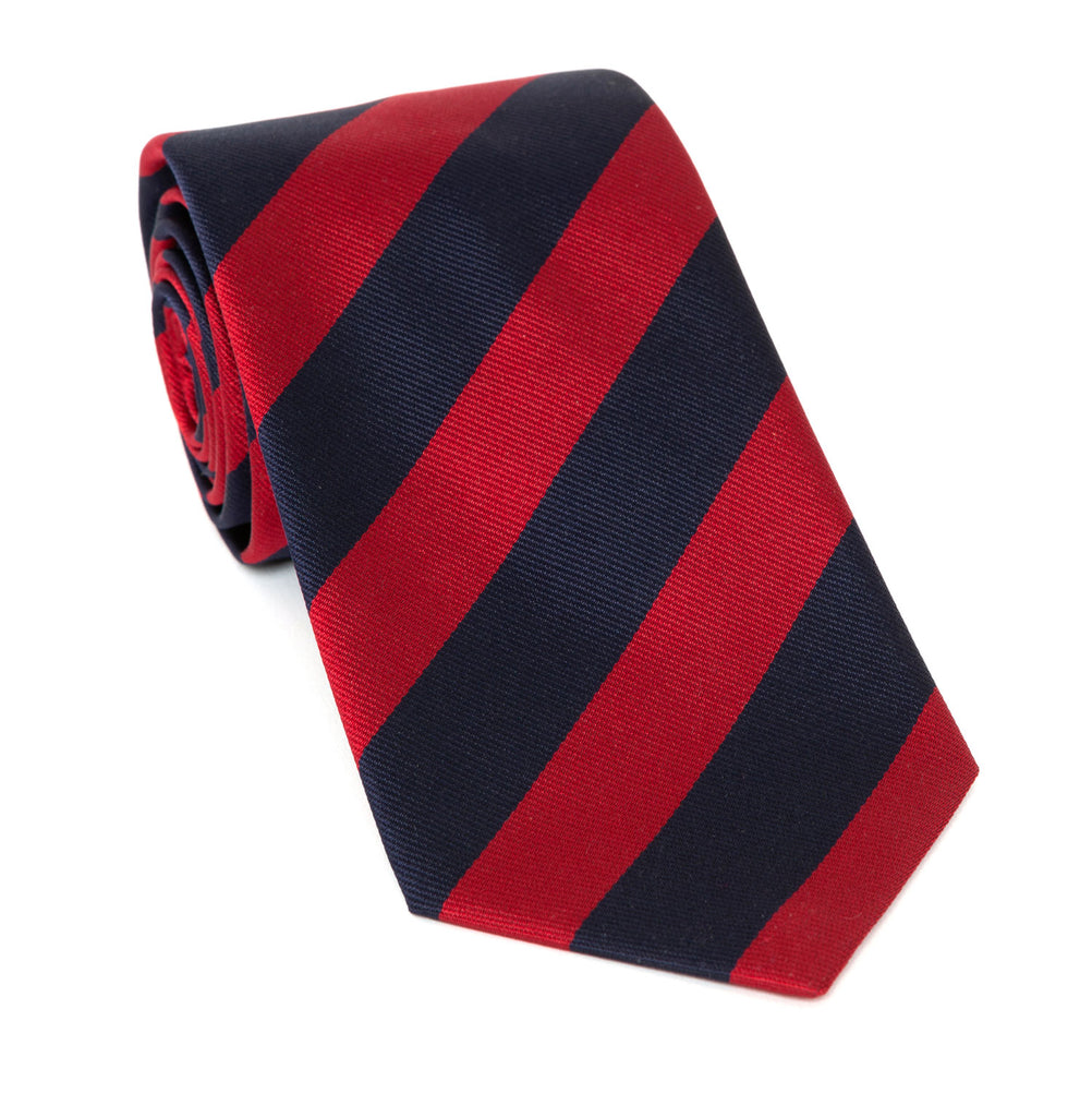 Regent Luxury Silk Tie - Navy & Red Stripe - Regent Tailoring