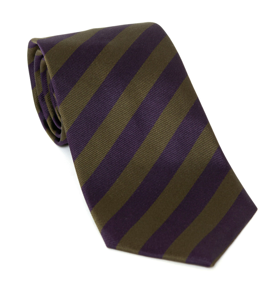 Regent Luxury Silk Tie - Purple and Deep Olive Stripes - Regent Tailoring