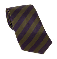 Regent Luxury Silk Tie - Purple and Deep Olive Stripes