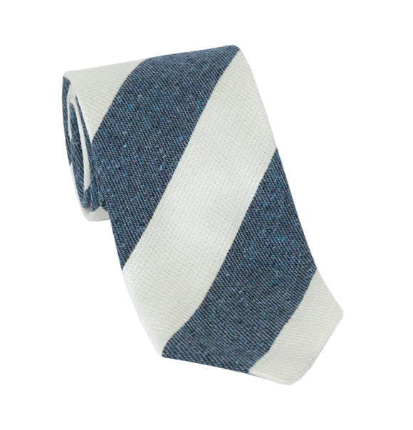 Regent Luxury Silk & Cotton Tie - White & Flecked Slate Blue Stripes - Regent Tailoring