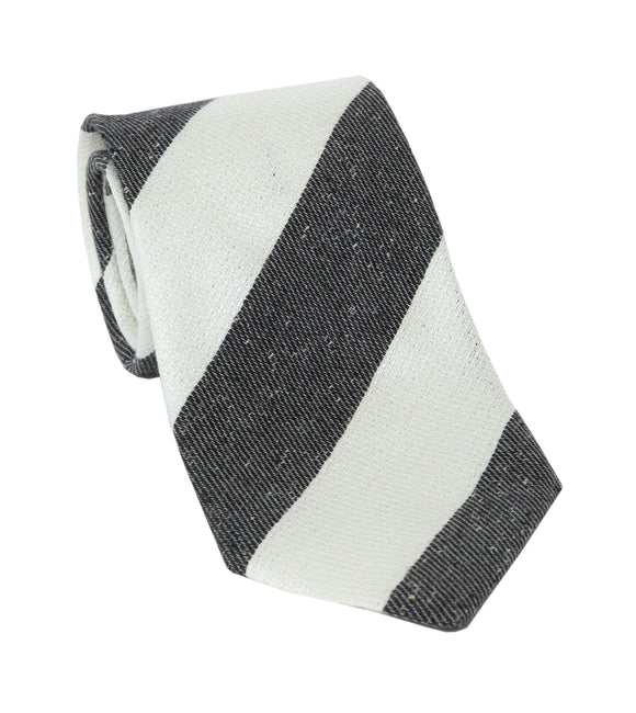 Regent Luxury Silk & Cotton Tie - White & Grey Stripe - Regent Tailoring