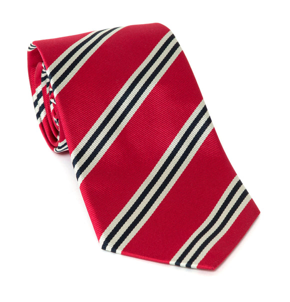 Regent Luxury Silk Tie - Red with White and Black Stripes - Regent Tailoring