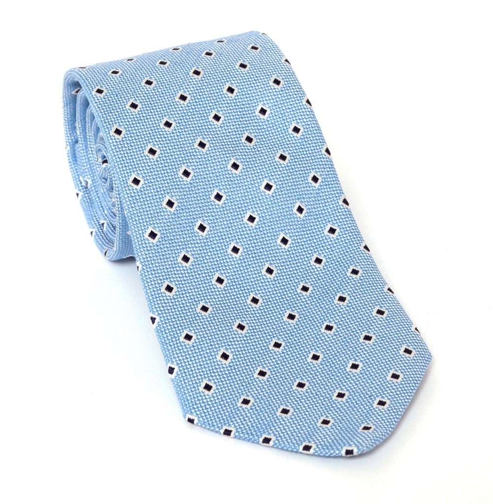 Regent Luxury Silk Tie - Blue Miniature Check with Diamond - Regent Tailoring