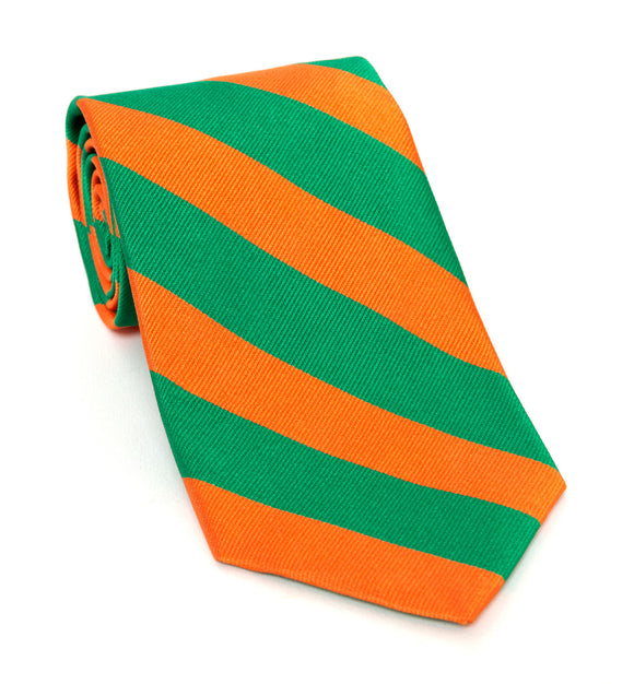 Regent Luxury Silk Tie - Orange & Green Stripes - Regent Tailoring