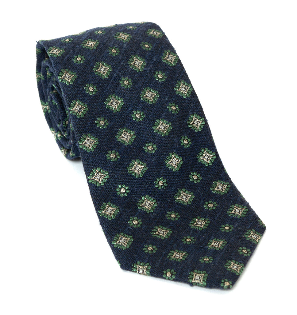 Regent Luxury Silk Tie - Navy with Flowers, Stars - Regent Tailoring