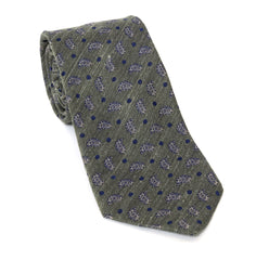 Regent Luxury Silk Tie - Green-Grey with Paisley