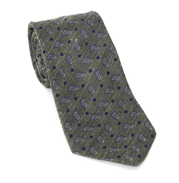 Regent Luxury Silk Tie - Green-Grey with Paisley - Regent Tailoring