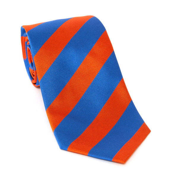 Regent Luxury Silk Tie - Blue & Orange Stripes - Regent Tailoring