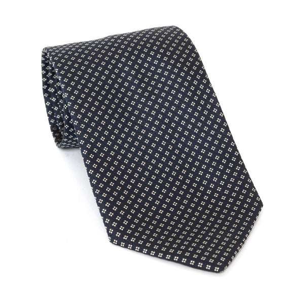 Regent Luxury Silk Tie - Dark Navy with White Diamond Pattern - Regent Tailoring