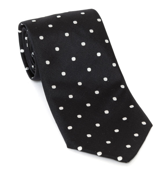 Regent Luxury Silk Tie - Black with White Spots - Regent Tailoring