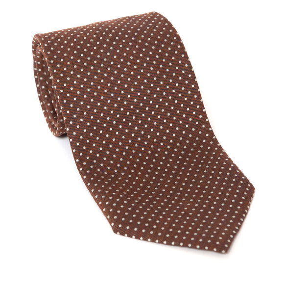 Regent Luxury Silk Tie - Brown with White Spots - Regent Tailoring