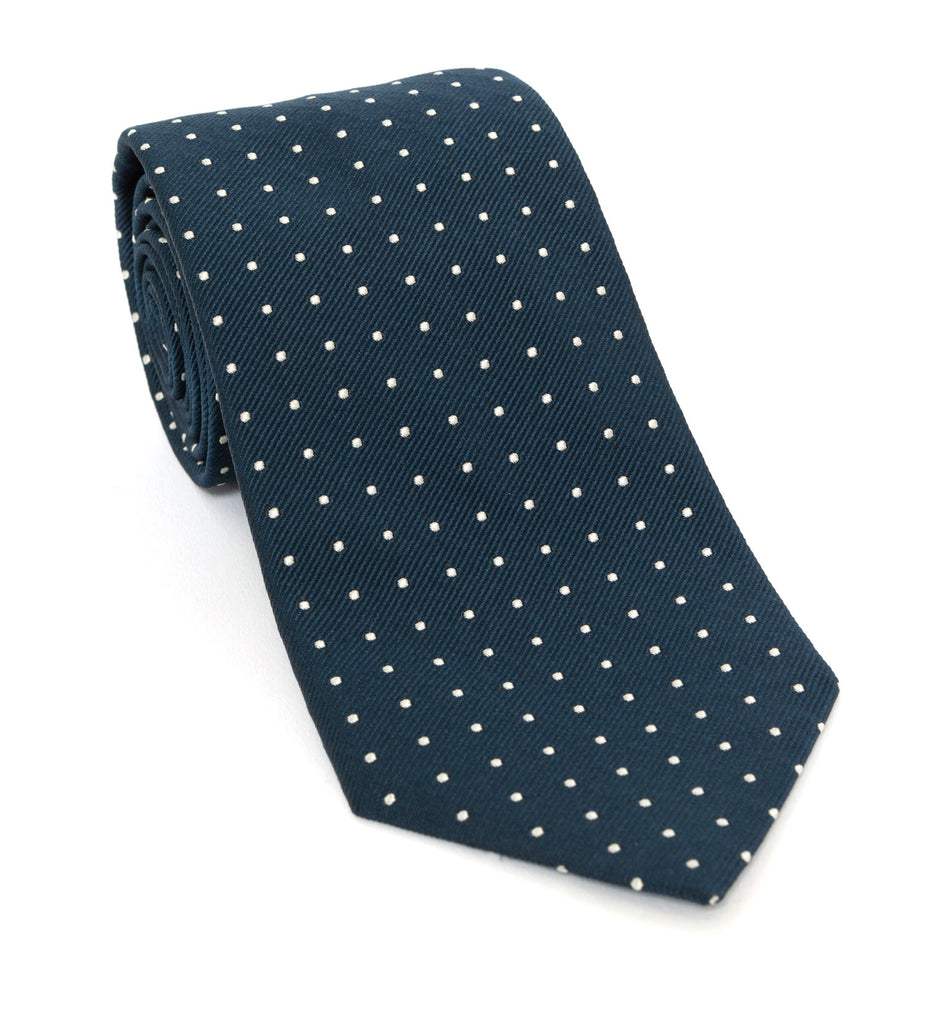 Regent Luxury Silk Tie - Navy Powder Blue with White Spot - Regent Tailoring