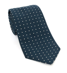 Regent Luxury Silk Tie - Navy Powder Blue with White Spot