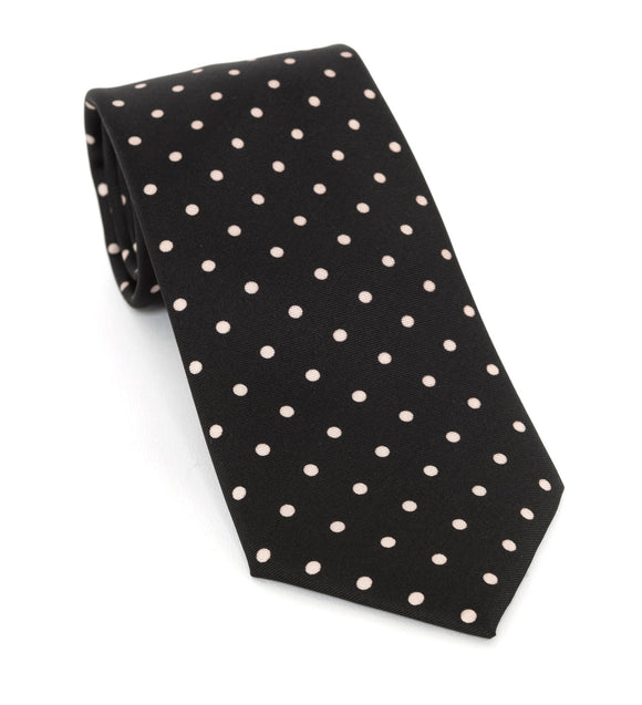 Regent Luxury Silk Tie - Black with Crème Spot - Regent Tailoring