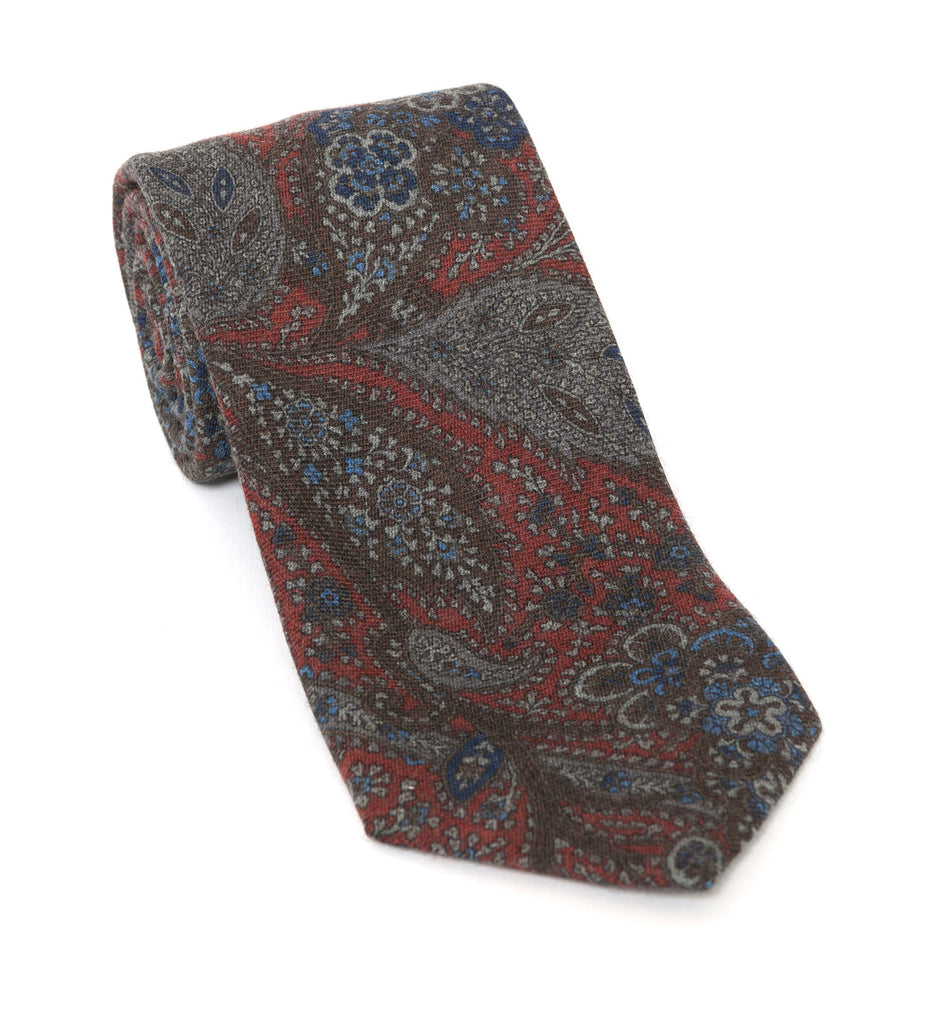 Regent Luxury Silk Tie - Burnt Orange & Blue Paisley - Regent Tailoring