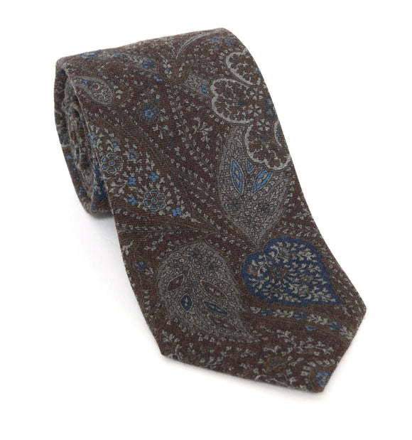 Regent Luxury Silk Tie - Brown with Blue & Grey Paisley - Regent Tailoring