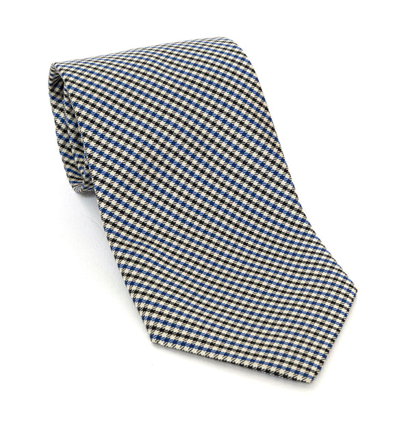 Regent Luxury Silk Tie - Black, White & Blue Check - Regent Tailoring