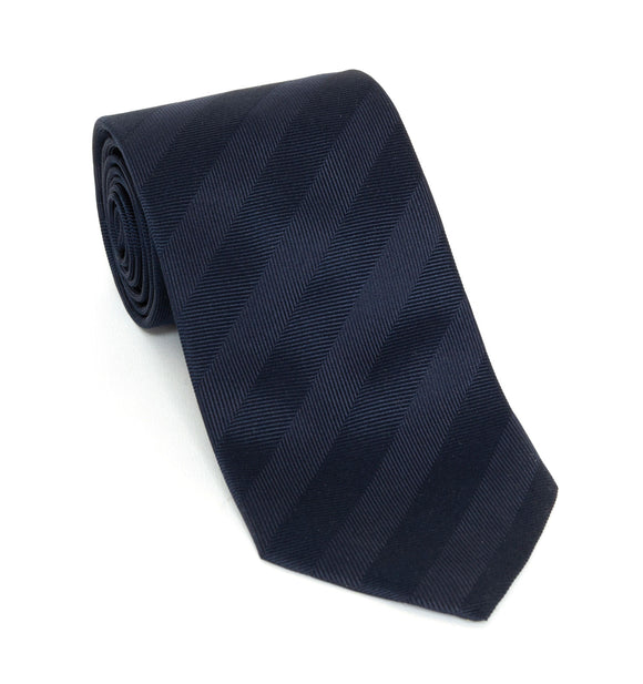 Regent Luxury Silk Tie - Dark Navy Herringbone Stripe - Regent Tailoring