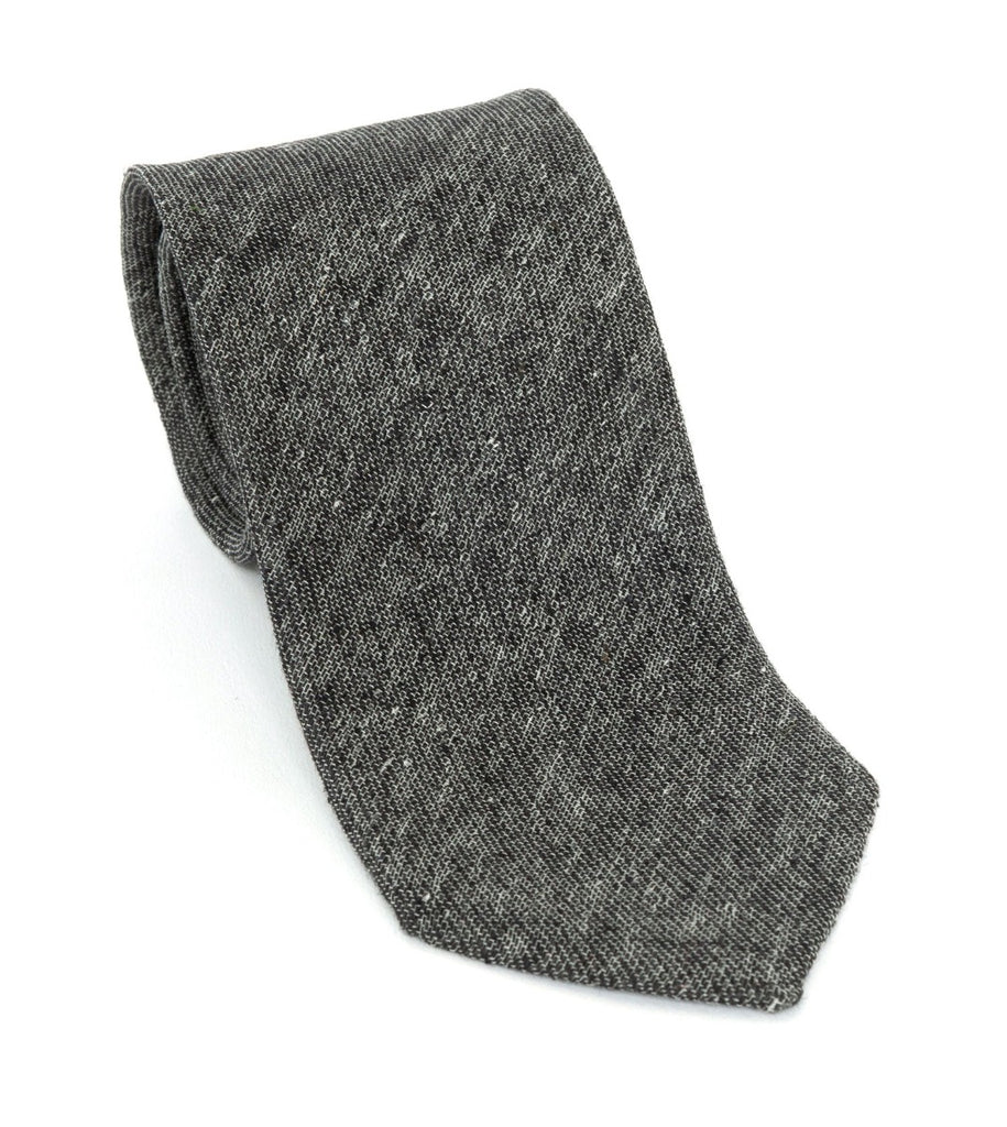 Regent Luxury Silk & Cotton Tie - Charcoal Grey - Regent Tailoring