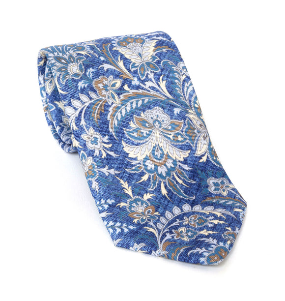 Regent Luxury Silk Tie - Blue Thistle Flower - Regent Tailoring