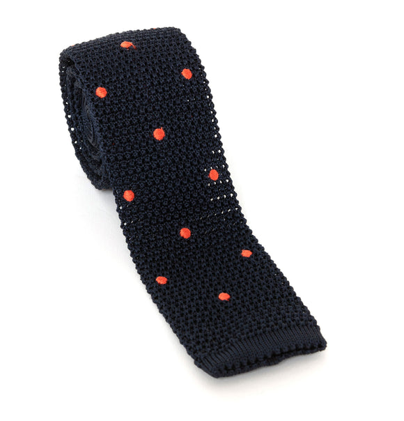 Regent Silk Knitted Tie - Black with Peach Spot - Regent Tailoring