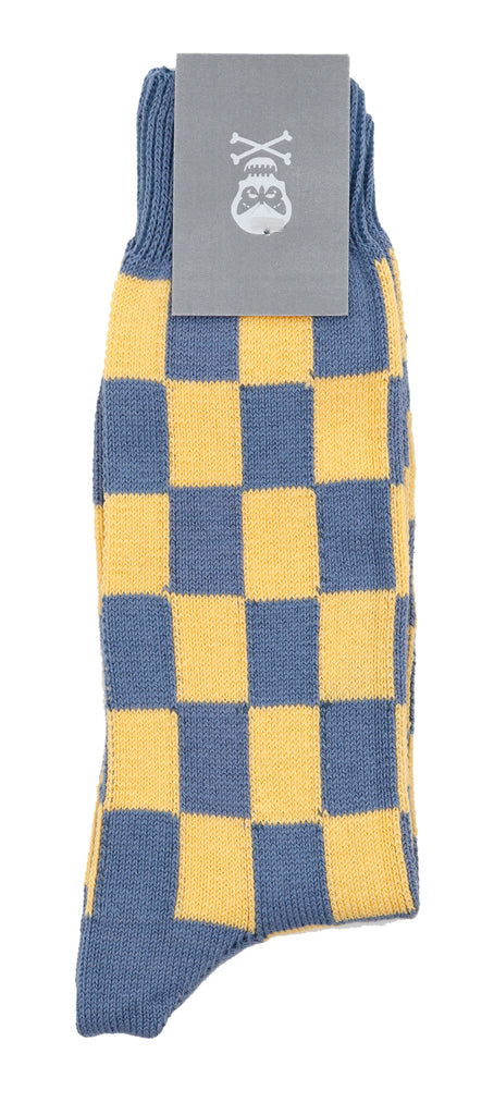 Regent Cotton Socks - Blue & Yellow Tile - Regent Tailoring